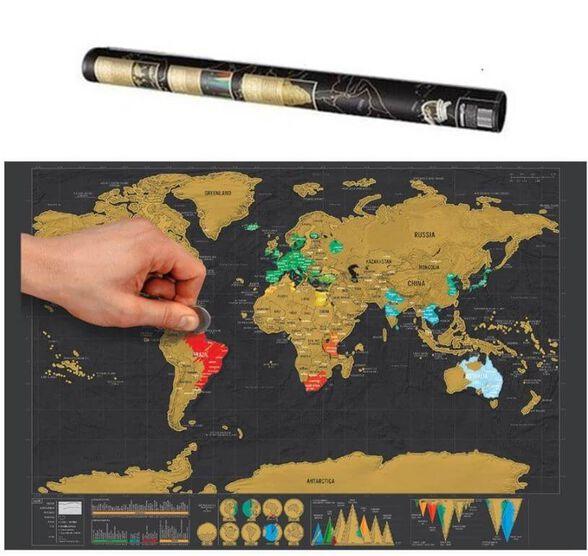 """מפת עולם לגירוד שחור – זהב 82×59 ס""""מ טסים, מבלים וכשחוזרים מגרדים ומסמנים עוד ארצות ומדינות שבהן ביקרתם, , large image number null"""