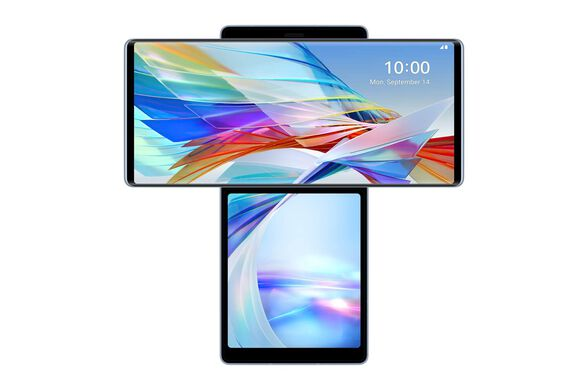 """סמארטפון מבית LG WING Illusion Sky 5G מסך ראשי מסתובב 6.8"""" מסך משני 3.9"""" נפח אחסון 128GB זיכרון 8GB RAM ומצלמה אחורית 3 עדשות 64MP+13MP+12MP   מתנות לרוכשים!! , , large image number null"""