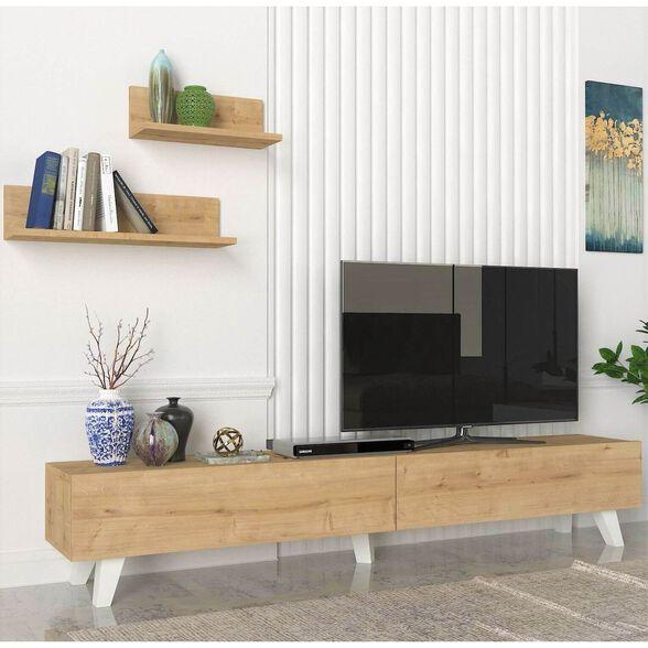 מזנון טלוויזיה עם סט מדפי תליה לקיר דגם אמסטרדם מבית GEVA DESIGN, , large image number null