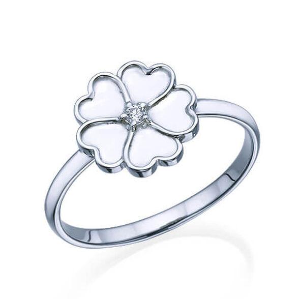 טבעת פרח בשיבוץ יהלום 0.02 קראט, , large image number null