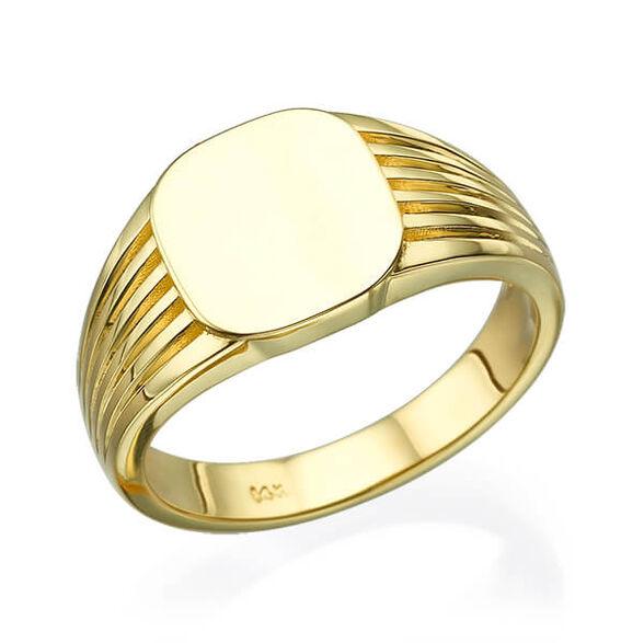 טבעת חותם פסים זהב לבן או צהוב, , large image number null