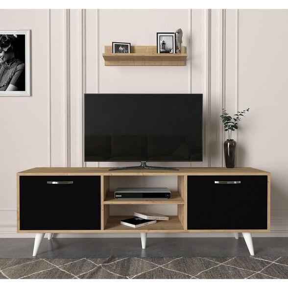 מזנון טלוויזיה 1.6 מטר אלון לבן דגם תמר מבית GEVA DESIGN, , large image number null