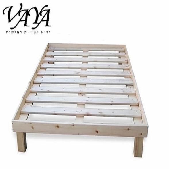 מיטת בסיס זוגית על רגליים מעץ מלא עם מסגרת למזרן, , large image number null