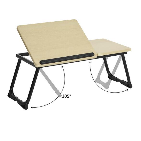 שולחן רב תכליתי קומפקטי ומפנק! מעולה למחשב הנייד ומתאים גם לספר, ארוחה קלה ולכל מטרה..._אלון בהיר בסיס שחור, , large image number null