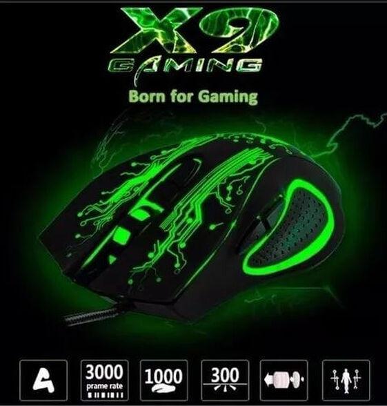 עכבר גיימינג אופטי X9 בעל 6 כפתורים | מתחבר בקלות למחשב בחיבור USB | עיצוב ארגונומי וקל משקל, , large image number null