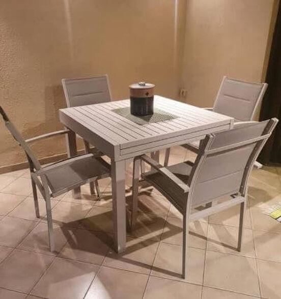 שולחן נפתח %100 אלומיניום 90/180*90 כולל 4 כסאות דגם Haifa מבית H-KLEIN_בז', , large image number null