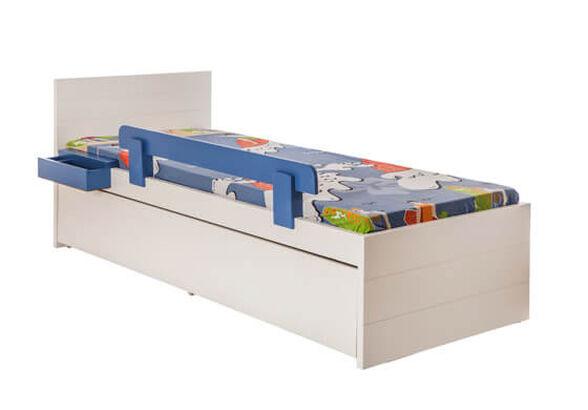 מיטת ילדים מדגם אורי מעץ משולב הכולל: 2 מזרנים + מיטת חבר + 2 מגירות גדולות + מגן בטיחות, , large image number null