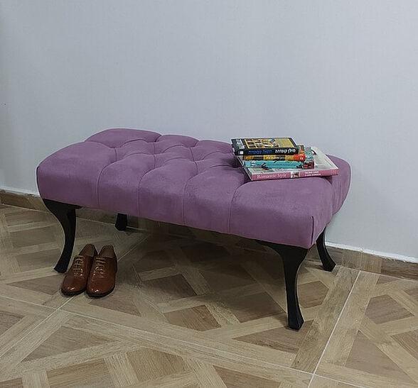 הדום ספסל ישיבה מעוצב מרופד בבד קטיפה מבית Tudo Design דגם קלודין_פוקסיה, , large image number null