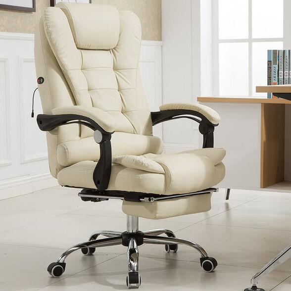 כיסא מנהלים/ות מעוצב ומקצועי דגם ווגאס כולל הדום נשלף, מנגנון מסאג' רטט ומושב רחב ומפנק_שמנת, , large image number null