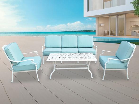 פינת ישיבה לגינה דגם ויקטוריה תלת הכוללת ספה 2 כורסאות ושולחן מבית SUNRISE _טורקיז, , large image number null