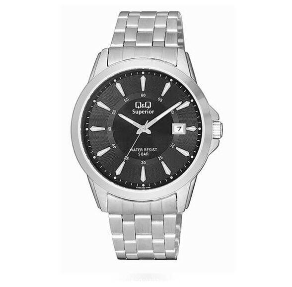 שעון פלדת אל חלד לגבר עם מחוגים זוהרים מבית Q&Q_פלדה כסופה עם לוח שחור, , large image number null