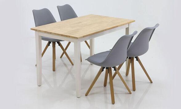 """""""שמרת הזורע"""": פינת אוכל, שולחן אוכל מודרני דגם מישיגן גוון לבן-שנהב משולב אלון טבעי כולל 4 כיסאות דגם קורל, , large image number null"""