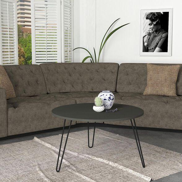שולחן סלון אפור עם רגלי סיכה 80 סמ דגם רון מבית GEVA DESIGN, , large image number null