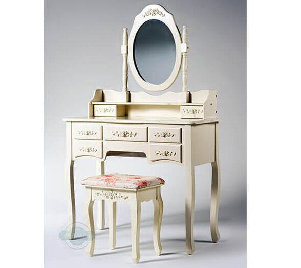 שידת איפור טואלט 7 מגירות בעיצוב וינטג׳ עם מראת איפור מתכוונת וכיסא תואם במתנה   צבע לבן או שמנת לבחירה._צבע שמנת, , large image number null