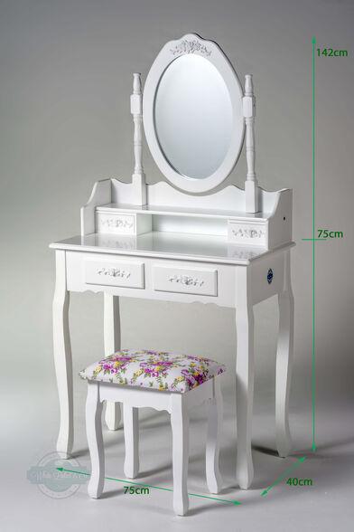 שידת איפור טואלט 4 מגירות בעיצוב וינטג' עם מראה מתכווננת וכיסא תואם במתנה | צבע לבן או שמנת לבחירה_צבע לבן, , large image number null