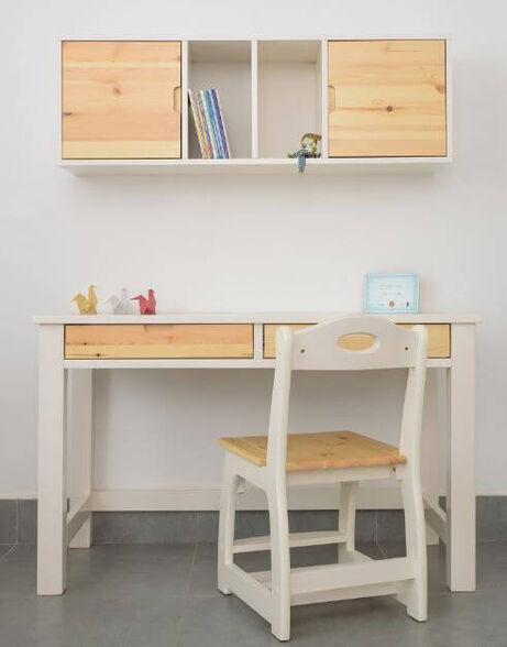 שולחן דגם עומרי בעל 2 מגירות בעיצוב חלק ונקי | עשוי עץ מלא בלבד ! , , large image number null