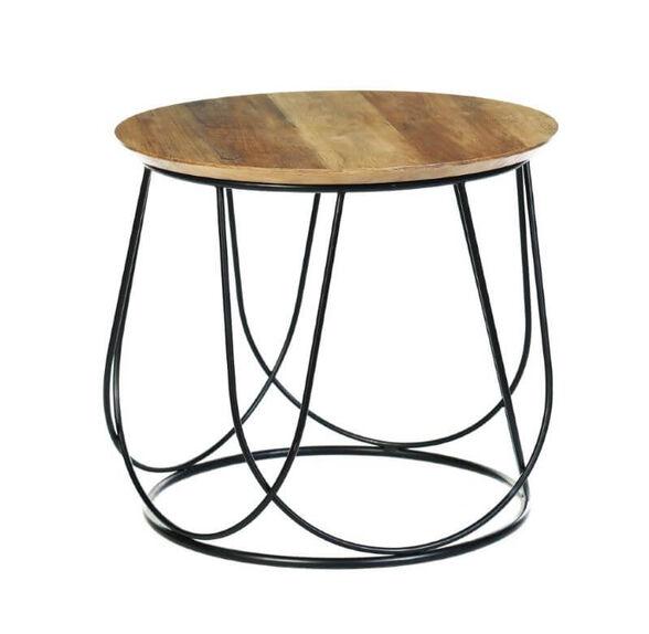 שולחן עגול עץ בשילוב מתכת לסלון דגם ברלין מבית IDesign, , large image number null
